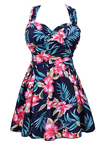 - COCOPEAR Women's Elegant Crossover One Piece Swimdress Floral Skirted Swimsuit(FBA) Floral 43 M/6-8
