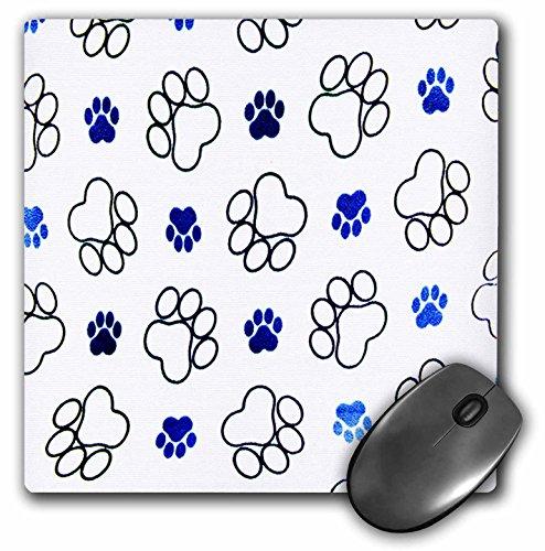 "3D Rose""Paw Prints Black and Blue Tracks"" Matte Finish Mouse Pad - 8 x 8"" - mp_76927_1"
