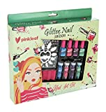 PinkLeaf Glitter Powder Nail Art Gift Kit for Kids 3+ - Non-Toxic Polish, Plastic Nails, Flower Stickers, Glittery Dust Pots & Applicator Brush