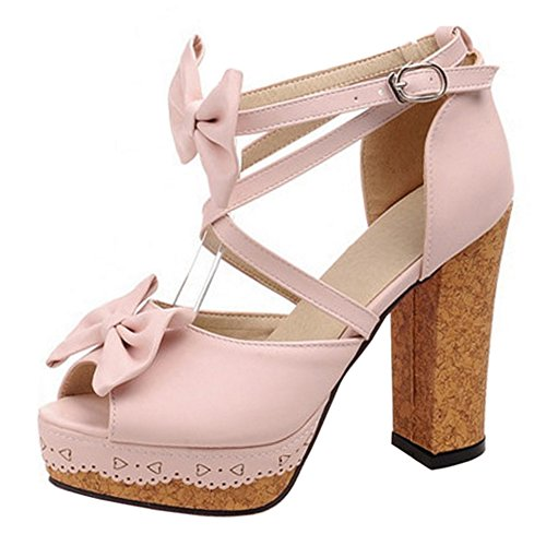 Coolcept Women Lovely Cross Strap Sandals Heels Pink vUv0AY