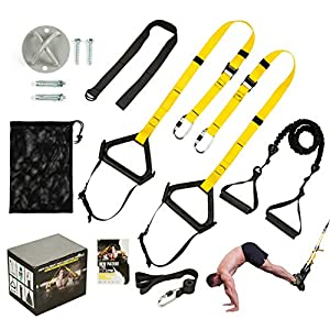 Well-Being-Matters 51g4e4gLIVL._SS300_ DOHOO Bodyweight Resistance Trainer Kit, Home Gym Strength Training Straps Outdoor Fitness Training Set