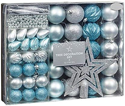 Blue And Silver Christmas Decorations.New Style Room Decoration Christmas Tree Decoration Set 50pc Ice Blue Silver Amazon Co Uk Kitchen Home