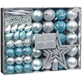 New Style Room Decoration Christmas Tree Decoration Set 50pc Ice Blue & SILVER