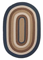 Braided Area Rug 5ft. x 8ft. Oval Blue Haze Indoor/Outdoor Reversible Carpet