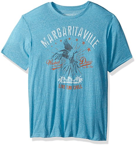 Margaritaville Men's Short Sleeve Vintage Parrot T-Shirt, Blue Breeze Heather, Medium (Parrot Print T-shirt)