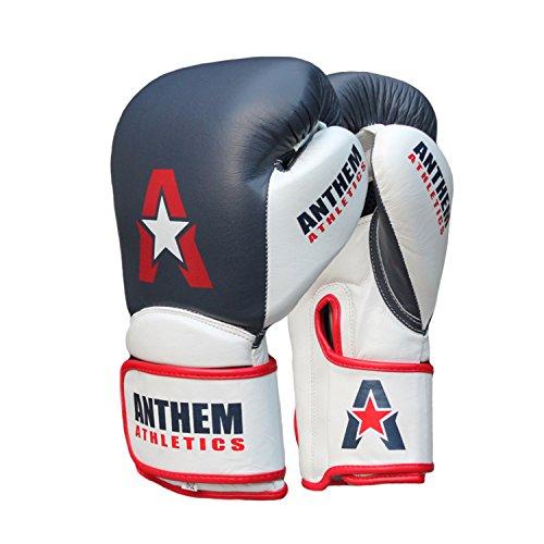 Anthem Athletics STORMBRINGER Fight Gloves - Muay Thai, Boxing, Striking, Kickboxing, Leather - Blue, White & Red - 12 ()