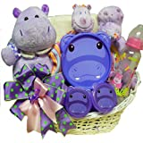 Art of Appreciation Gift Baskets Happy Happy Hippo New Baby Gift Basket, Girl