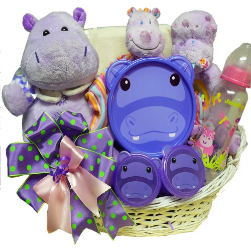 Art of Appreciation Gift Baskets Happy Happy Hippo New Baby Gift Basket, Girl (Unique Baby Girl Gift Baskets)
