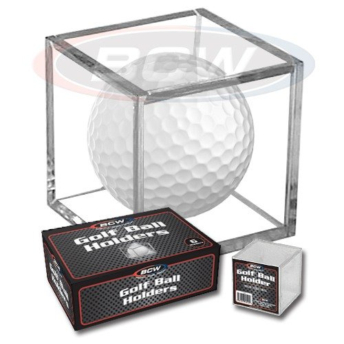 (Golf Ball Personalized Square - Engraved - Cube Acrylic Display Case - Holder - Hole in One - Free Laser Engraved Name Plate)