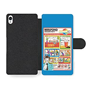 Funny Cute Beer Pong Flight Card Parody Infographic Faux Leather case for Sony Xperia Z3