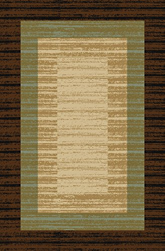 Doormat 18x30 Brown Border Stripe Kitchen Rugs and mats | Rubber Backed Non Skid Rug Living Room Bathroom Nursery Home Decor Under Door Entryway Floor Non Slip Washable | Made in Europe