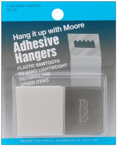 Moore Push-Pin Adhesive Hangers Plastic Sawtooth, 4-Pack -