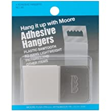 Moore Push-Pin 86 Adhesive Hangers Plastic Sawtooth, 4 Pack