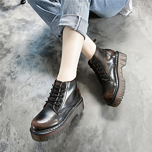 NVXIE Women's Flats Short Boots New Leisure Strappy Round head Thick Bottom Genuine Leather Low Rough Heel Pumps Martin Boots Black Brown Gray Spring Fall Winter Party Work 1-EUR37UK455 6xVqd77