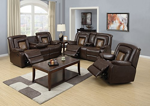 Nora Brown 3-Piece Leather Living Room Sofa Set with 5 Recliners & 2 Drop Down Table