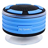 Portable Wireless Bluetooth Speakers Waterproof Shower Speaker with 5W HD Sound and Super Bass,Suction Cup, Buit-in Mic, Hands-Free Speakerphone - Blue