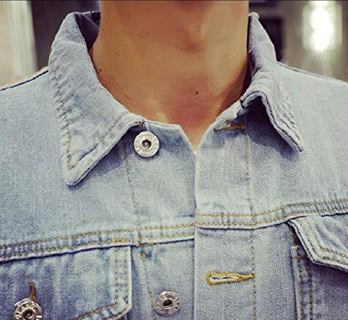 Verso Turno Della Il 1 Basso Jacket Uomini Sicurezza Petto Collare Denim Jeans Lembo Dei Degli Tasche xqWrnWp