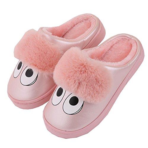 Dibujos animados cuero de la PU familia zapatillas de casa-Unisexo invierno calentar felpa zapatos botas Rojo