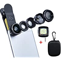 Apexel Deluxe Universal 5 in 1 Camera Lens Kit for iPhone 7 6/6s 6Plus/6s Plus, Samsung Galaxy S7/S7 Edge,S6/S6 Edge Note 5 4-Fisheye Lens, 2 in 1 Wide Angle Macro Lens, 2x Telephoto Lens and CPL Lens