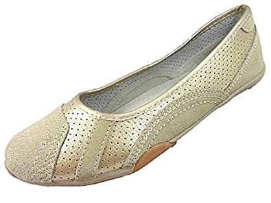 Down To Earth - Mocasines de Ante para Mujer, Color Dorado, Talla.