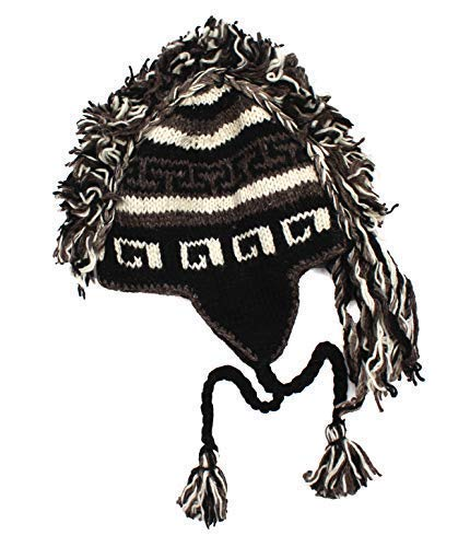visualeyewear Mohawk Style Winter Earflap Knit Beanie Very Comfy, Suitable for Men and Women (Brown)