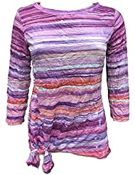 David Cline Online Womans Crew-Neck Crushed Shirt. Orchid Design