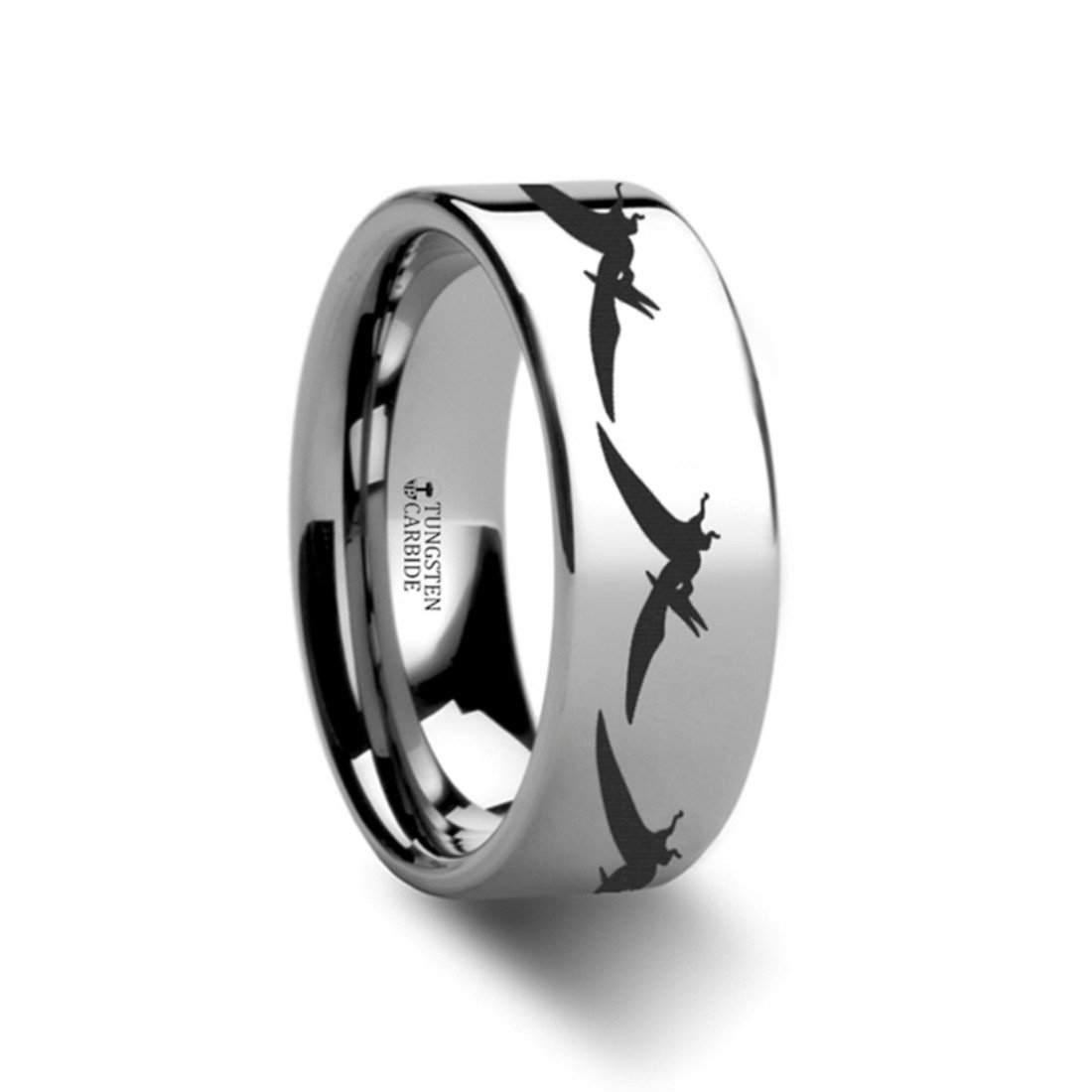 Thorsten Dinosaur Ring Teradactyl Prehistoric Paleo Flat Polished Tungsten Ring 4mm Wide Wedding Band from Roy Rose Jewelry