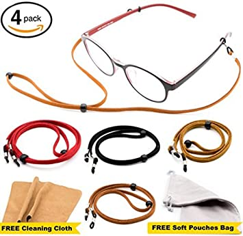 2cd5e12c614 Eyeglass Strap Chain  Pack of 4 + Bonuses  - Eyeglasses Holder Lanyard  Chain Cord