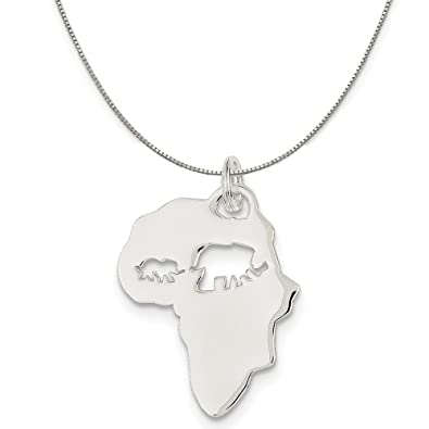 Amazon sterling silver map of africa with elephants charm on sterling silver map of africa with elephants charm on sterling silver box chain necklace 16quot aloadofball Image collections