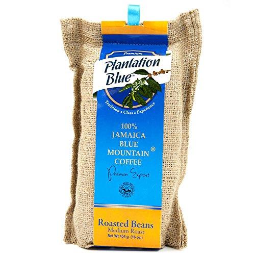 PLANTATION BLUE Jamaica Blue Mountain Coffee 100% Fresh Blue Mountain Coffee Medium Roasted Whole Beans - 16oz (1lb)