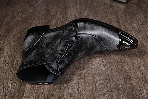 FIESSO Stivaletto per Uomo High Top Boot Slip On Style Cerniera Laterale in Vera Pelle di Alta qualità Rivetto di Pizzo in Metallo (Color : Grey, Dimensione : 42 EU)