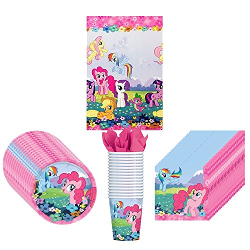 My Little Pony Friendship Party Supplies Pack Including Plates, Cups, Napkins and Tablecover - 16 Guests - My Little Pony Party Supplies