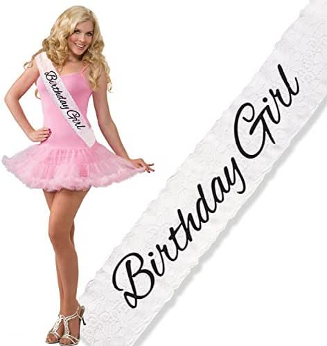 Trendy White Lace Birthday Girl Sash by Express Novelties Online