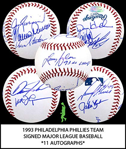 1993 Philadelphia Phillies Team Autographed Signed Baseball Ball 11 Autos Certified Authentic