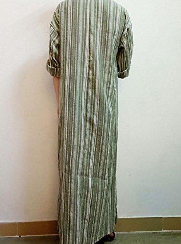 Pocket Sleeve Long Pinstripe Long Dress Women Pattern3 Coolred Linen Maxi Oversize gxwYfXcq6