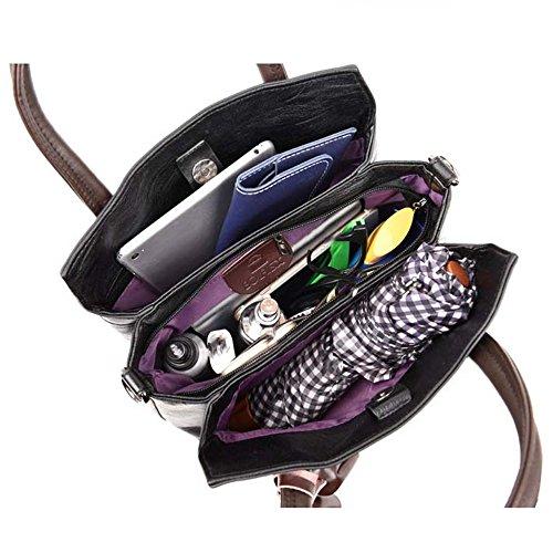 Penao PU bolso de de solo bolsa 30cmx12cmx26cm hombro tres Bordado línea tamaño Copper mano de moda pisos 8rEqzr