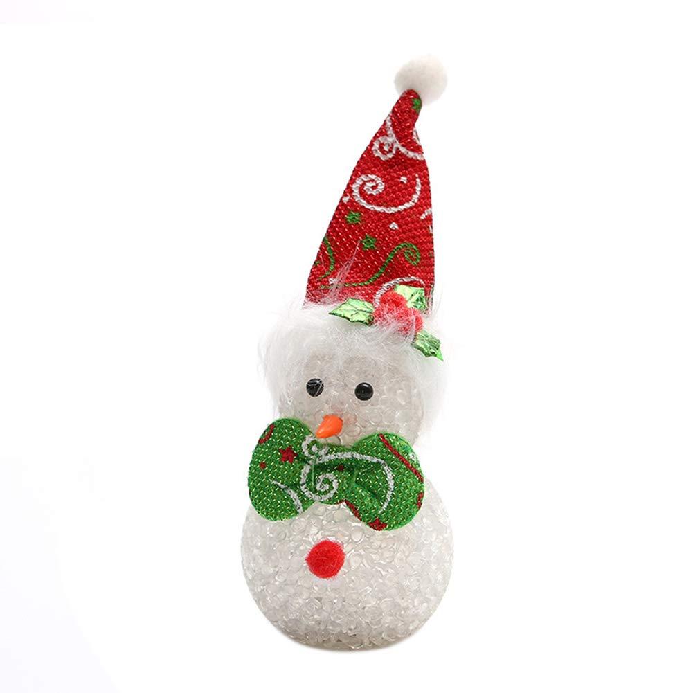 ink2055 Cute Glow Christmas Snowman EVA Beads Light Flash Xmas Party Desktop Decoration - Red