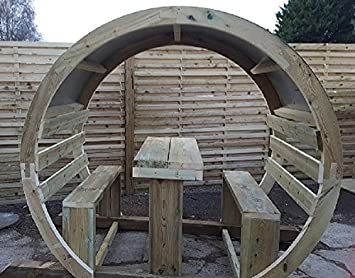 Smileswoodcraft Wooden Garden Circle Arch Moon Gate Seating Unit