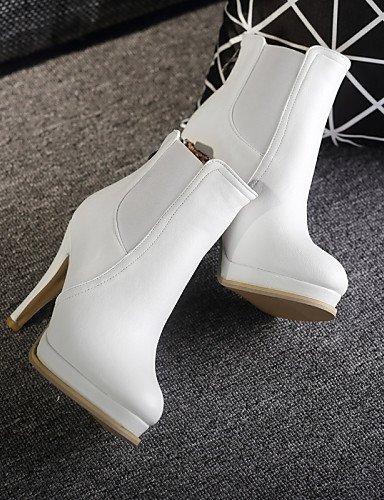 Semicuero us6 Botines Cn36 Botas White Vestido Cn43 Beige White 5 Uk4 Uk8 Negro Tacón Mujer A Blanco De Stiletto Zapatos 5 Eu36 Eu42 Redonda La U Punta Xzz Moda us10 CqwFOXTn