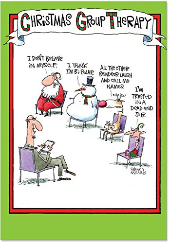 5799 'Group Therapy' - Funny Merry Christmas Greeting Card with 5