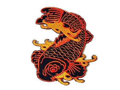 Tyga_Thai Brand Lucky Japan Carp Koi Fish Beautiful Logo Applique Embroidered Sew on Iron on Patch for Backpacks Jeans Jackets T-Shirt Clothing etc. - Orange Color (Iron-CARP-KOI-Fish)