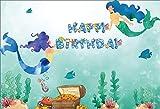 Leyiyi 6x4ft Kids Happy Birthday Backdrop Cartoon Mermaid Wonderland Magic Tale Fish Underwater Treasure Wealth Chest Seaweed Photo Backgroud 1st B Day Baby Shower Portrait Shoot Vinyl Studio Prop