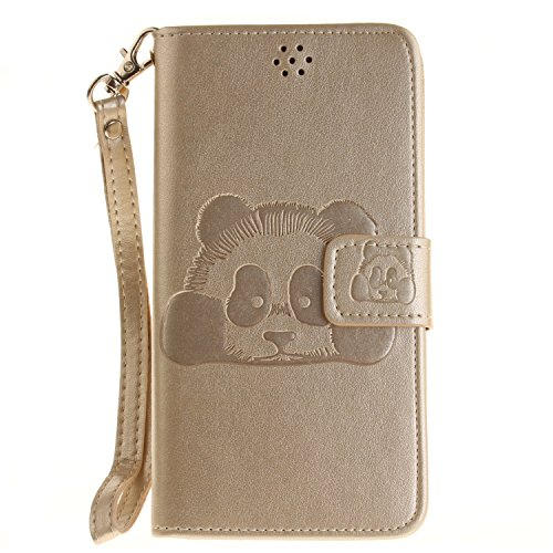 Qiaogle Teléfono Case - Funda de PU Cuero Billetera Clamshell Carcasa Cover para Doogee X5 / X5 Pro (5.0 Pulgadas) - TX53 / Dorado Moda Elegante estilo + Panda TX53 / Dorado Moda Elegante estilo + Panda