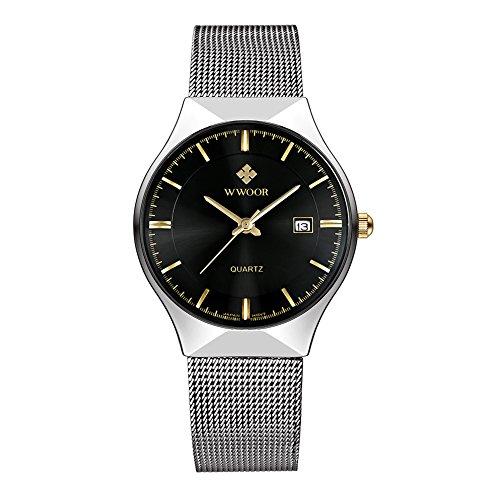 ساعت مچی کوارتز از جنس استنلس استیل فوق العاده نازک WWOOR ساعت مچی با ساعت WR-8016 (سیاه)