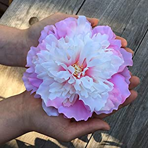 Large Baby Pink Vintage Peony Rose Craft Flowers for Boho and Rustic Wreaths, Flower Crowns and Millinery Supplies, Cake Decorating, Party and Home Decor and Flower Craft. Handmade 8 heads x 5 inches 103