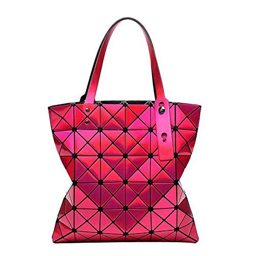 Laser Femmes Bandoulière Bag Variété Pliage Sac CY Sacs à 6 Sacs Main 6 Lingge Sacs à Rosered Géométrique wqzc1F
