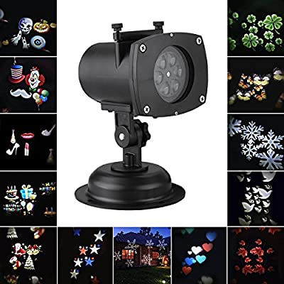 Halloween Projector Lights,WONFAST LED Christmas Projector Lamp 12 Replaceable Lens Night Lamp Auto Moving Plug-in Landscapes Spotlight Walls Light for Christmas Halloween Birthday Wedding Party Decoration