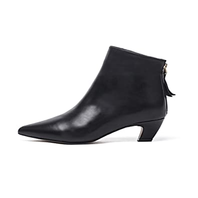 Black Ankle Boots For Women Elegant Pointed Toe Booties Low Block Heel Back Zipper Simple Ladies Short Boots