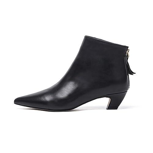 Mujer Cuero Botines Negro Botas Invierno Zapatos Ankle Boots Medio Bajos Bloque Tacon Con Cremallera(
