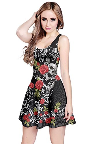 CowCow Womens Skull Rose Sleeveless Dress, Black - L ()